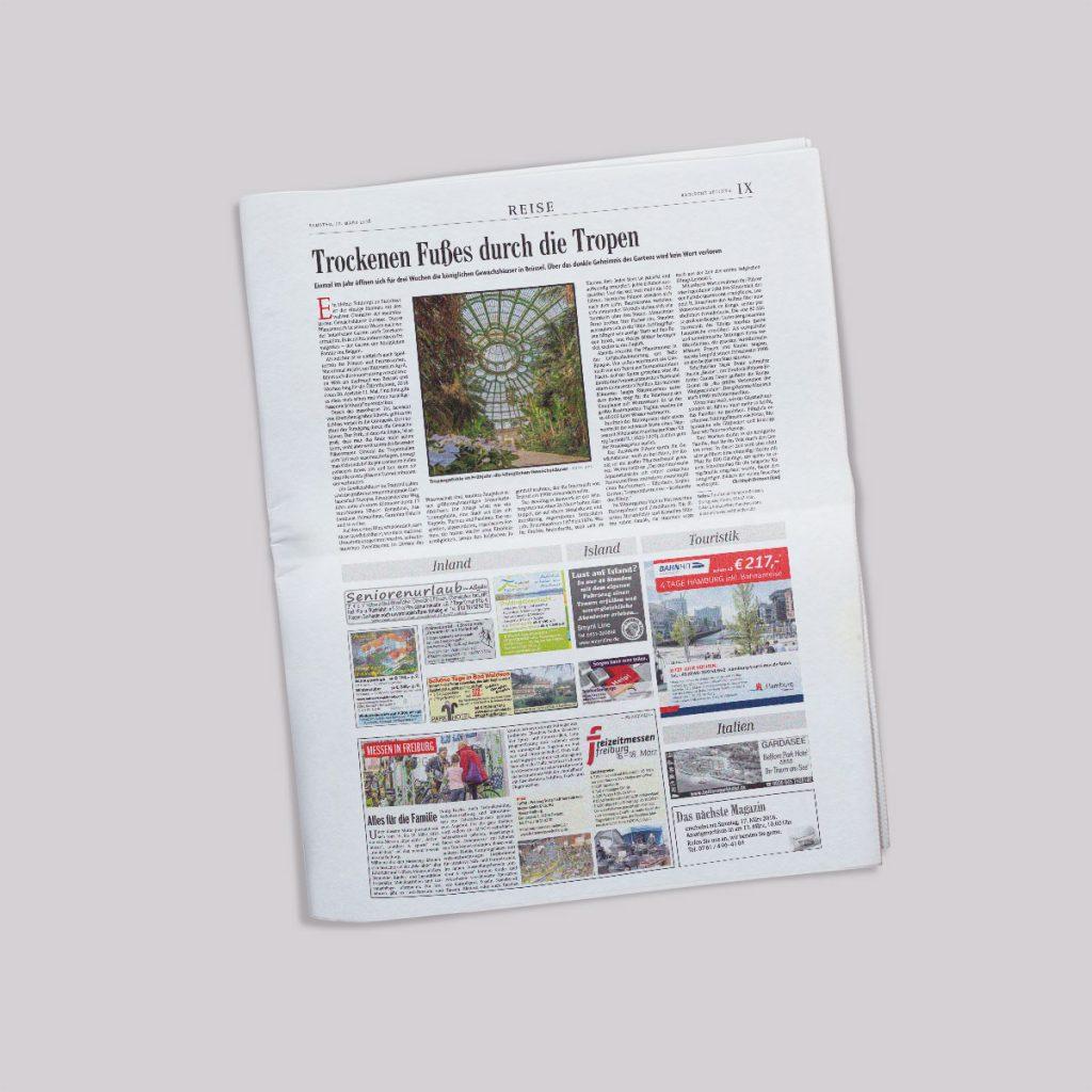 Beispielseite Badische Zeitung - Reisekombi
