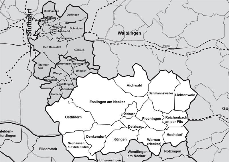 Esslinger Zeitung - Verbreitungsgebiet