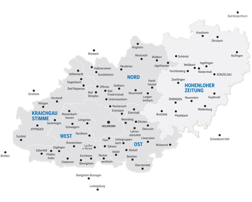 Heilbronner Stimme Verbreitungsgebiet - Reisekombi SüdWest