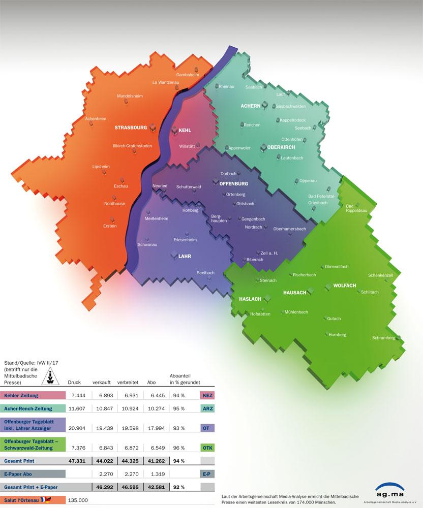 Mittelbadische Verbreitungsgebiet - Reisekombi SüdWest