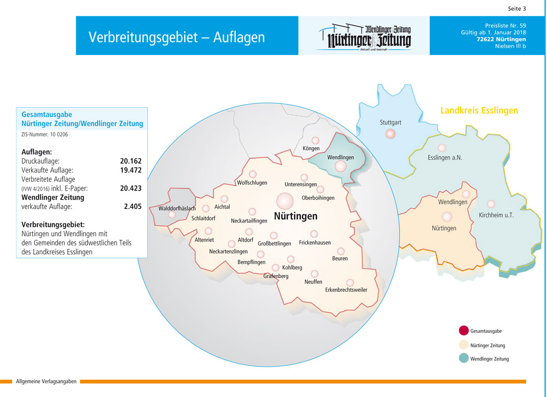 Nürtinger Zeitung Verbreitungsgebiet - Reisekombi SüdWest