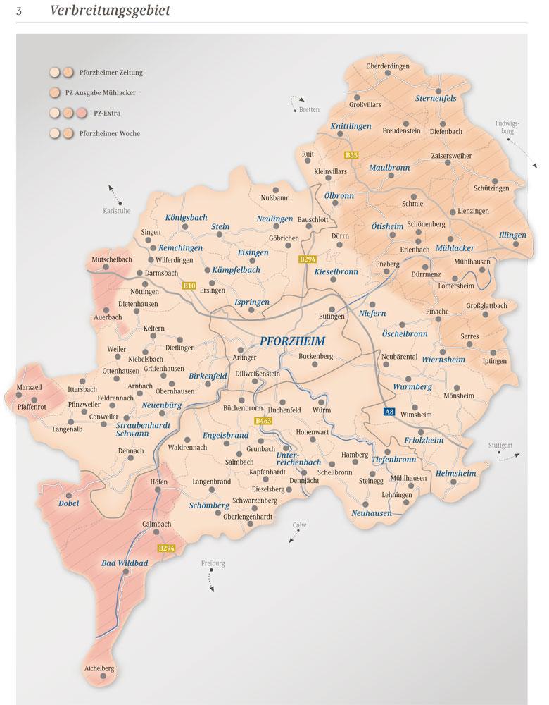 Pforzheimer Zeitung Verbreitungsgebiet - Reisekombi SüdWest