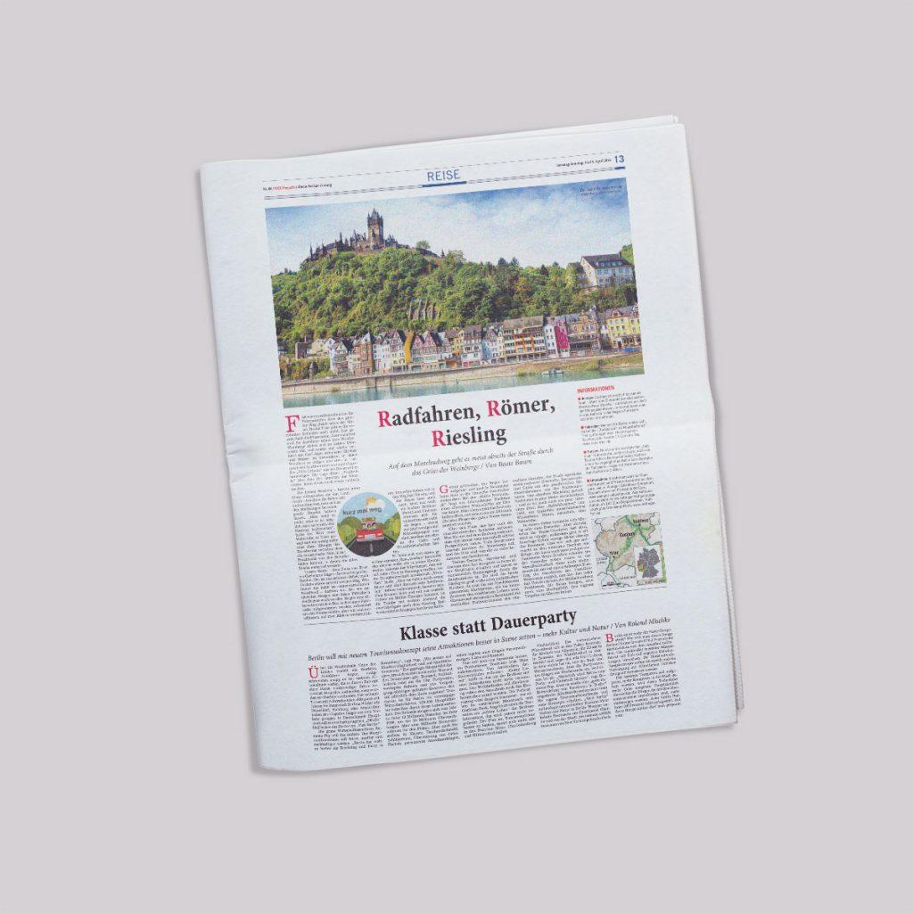 Beispielseite Rhein Neckar Zeitung - Reisekombi