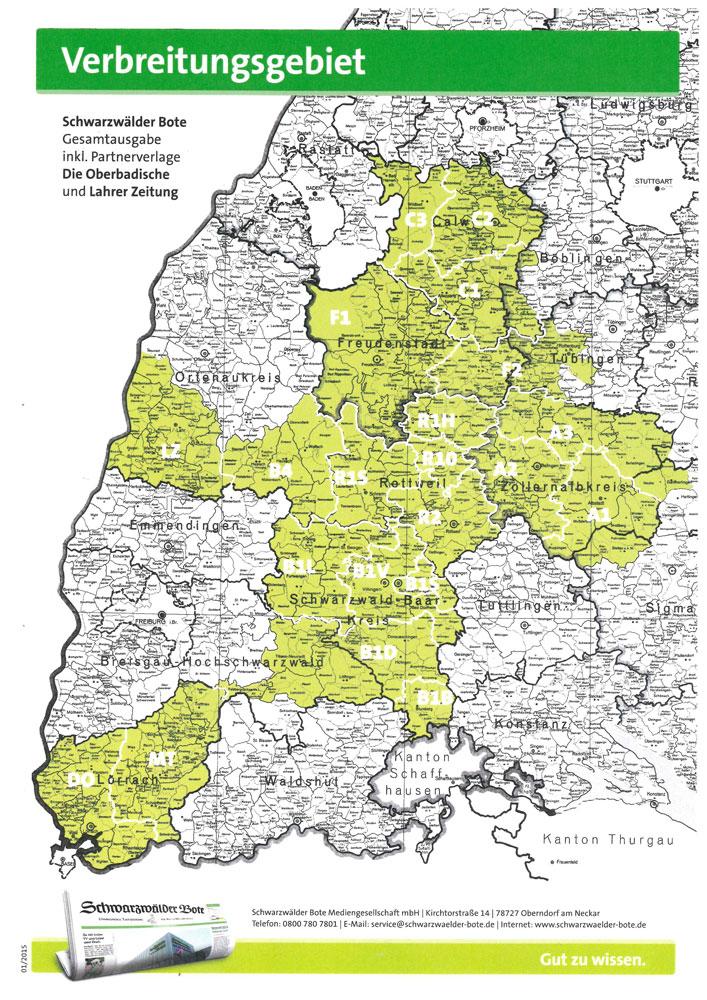 Schwarzwälder Bote Verbreitungsgebiet - Reisekombi SüdWest